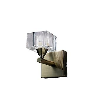 Mantra Cuadrax Wall Switched 1 Light G9, Antique Brass