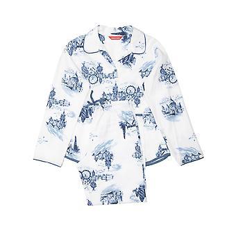 Minijammies 5506 Dziewczyna's Harper White Mix London Print Cotton Pyjama Set