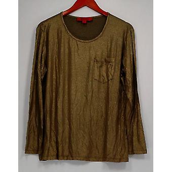 ليزا رينا جمع النساء & s أعلى الأكمام الطويلة Knit أعلى الذهب A257713