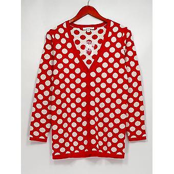 Liz Claiborne New York Sweater Jacquard Polka Dot Pink / Ivory A238928