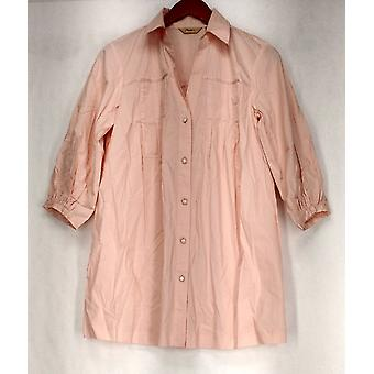Motto 3/4 Sleeve Button Front Short Top Light Pink Womens
