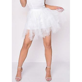 Tulle High Waisted Mini Gonna Nera