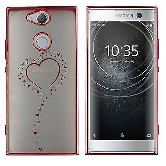 Sony XA2 Hoesje Hartjes Rose Goud - Backcover Clear Bumperlook