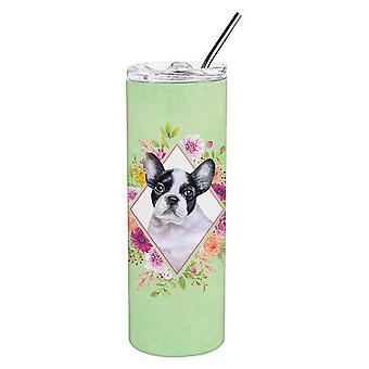 Französische Bulldogge grüne Blumen Doppel wandbemauert Edelstahl 20 Oz Skinny Tumbler