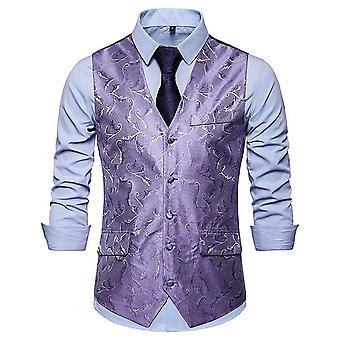 Allthemen miesten ' s yksirivinen V-kaula painettu Banquet puku liivi 4 väriä