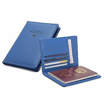 Passport holder in PU leather, blue
