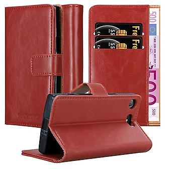 Cadorabo Hülle für Sony Xperia XZ1 Compact Case Cover - Handyhülle mit Magnetverschluss, Standfunktion und Kartenfach – Case Cover Schutzhülle Etui Tasche Book Klapp Style
