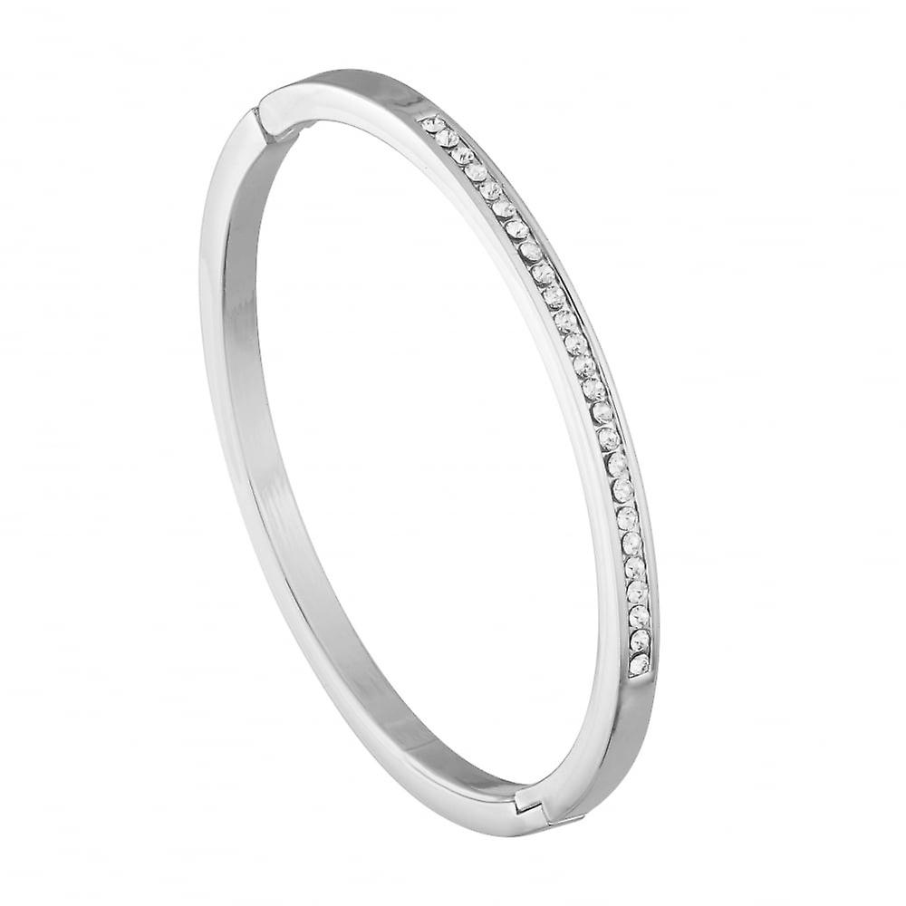 Belle & Beau Silver Plated Crystal Line Bangle