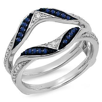Dazzlingrock Collection 10K Round Blue Sapphire & hvit diamant Ladies Anniversary Guard dobbelt ring, hvitt gull