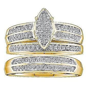 Dazzlingrock Collection 0,25 Carat (CTW) 10K rund hvid diamant Trio sæt 1/4 CT, gul guld