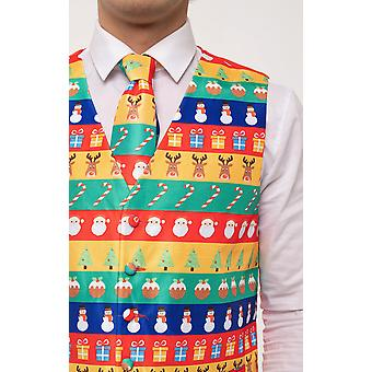 Dobell Mens Multicoloured Festive Wrapping Paper Christmas Waistcoat