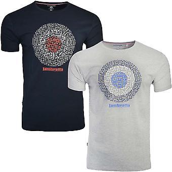 Lambretta Mens Geo Target Kurzarm Rundhals T-Shirt Top