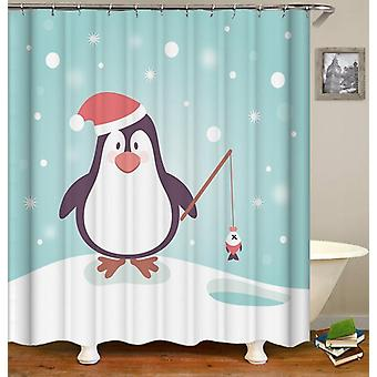 Cute Penguin With Santa Hat Shower Curtain