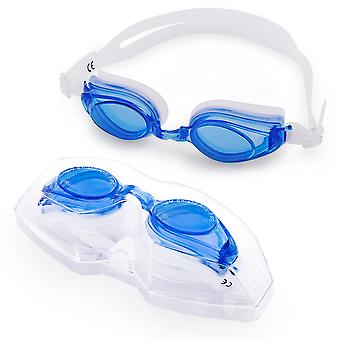 Adult Swimming Goggles with Case, Blue