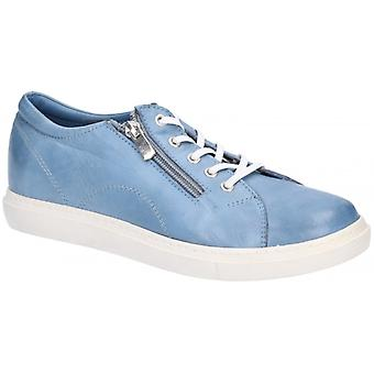 Hush Puppies Luna Ladies Leather Casual Trainers Blue