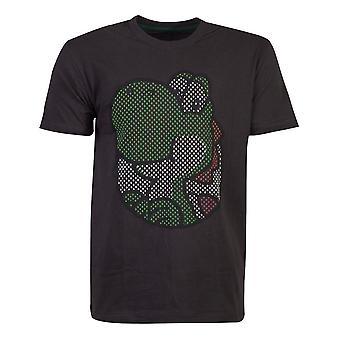 Nintendo Super Mario Bros Yoshi Rubber Print T-Shirt Homme Petit Noir