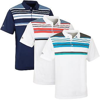 Callaway Golf Mens Engineered Roadmap Striped Polo Opti-Dri Shirt