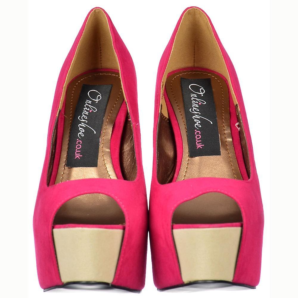 Onlineshoe Two Tone Suede Peep Toe High Heels - Concealed Platform Fuchsia / Beige