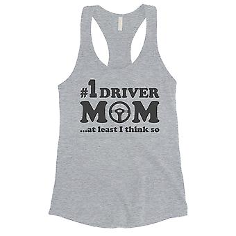 No1 Driver Mom Tank Top Womens Grey Sleeveless Workout Top For Mom