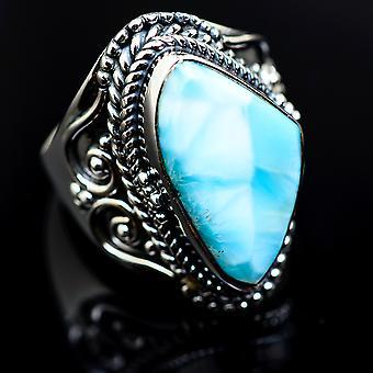 Larimar ring maat 6 (925 sterling zilver)-handgemaakte Boho vintage sieraden RING982795