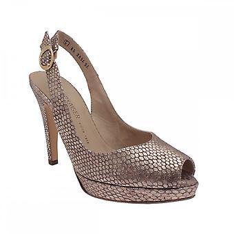 Peter Kaiser Pepsy Gold High Heel Platform Sling Back Peep Toe Court Shoe