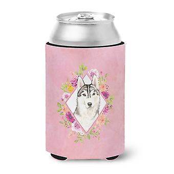 Carolines Treasures  CK4210CC Siberian Husky Pink Flowers Can or Bottle Hugger