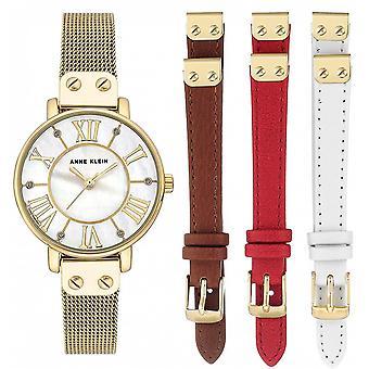 Anne Klein AK-N3180GBST Box - Crystal Watch Swarovski Steel Bracelet Dor Bo tier Aluminium Dor Femme - Braccialetti in pelle intercambiabili
