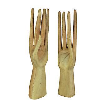 Ręcznie spreparowane Stand Up drewniane ręce Biżuteria uchwyt ekranu Stand 2 szt.