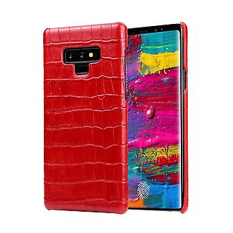 Samsung Galaxy Note 9 tapauksessa, krokotiili aitoa nahkaa matkapuhelimen kansi, punainen