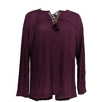 Style et Cie. Femmes plus Top Lace Up Long Sleeve Thermal Purple