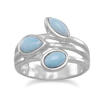925 Sterling Silver Multishape Larimar Ring Jewelry Gifts for Women - Ring Size: 6 to 9