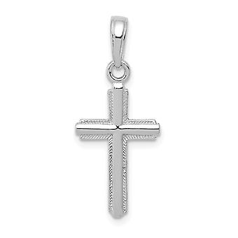 14k White Gold Cross With Stripped Border Jewelry Gifts for Women - .7 Grams