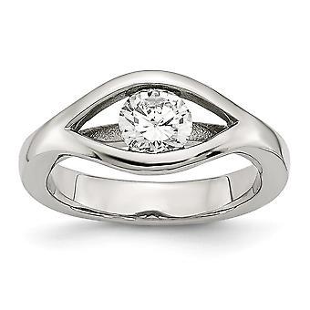 Acero Inoxidable Pulido CZ Cubic Zirconia Simulado Diamante Anillo Regalos para Mujeres - Tamaño del Anillo: 6 a 9