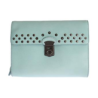 Dolce & Gabbana Blue Leather Studded Document Portfolio Briefcase Bag