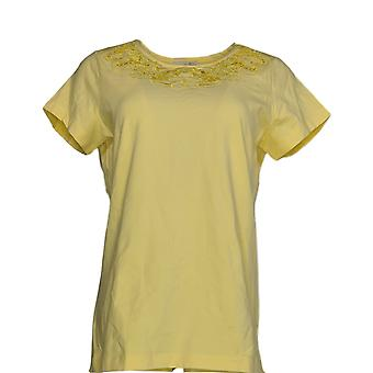 Isaac Mizrahi Live! Frauen's Top Floral Cut-Out stricken T-shirt gelb A220520