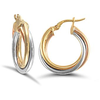 Jewelco London Ladies 9ct Yellow White and Rose Gold Russian Wedding Ring 3mm Hoop Earrings 20mm
