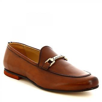 ليوناردو أحذية الرجال & s المصنوعة يدويا المتسكعون بت أنيقة في تان العجل ليتير