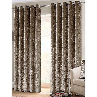 Belle Maison Foret øje gardiner, knust Velvet Range, 66x72 Mink