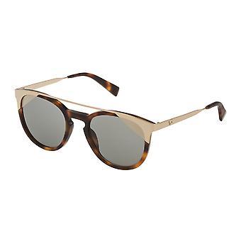 Furla SFU244 9AJG Havana Brown/Smoke Shield Gold Sunglasses