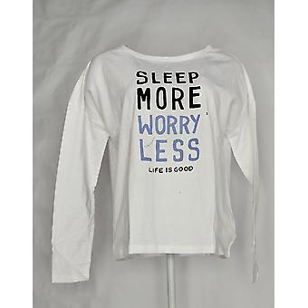 Life Is Good Women's Snuggle Up Long-Sleeve PJ Top White A371583
