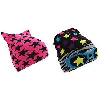 Childrens Girls Star Pattern Winter Beanie Hat