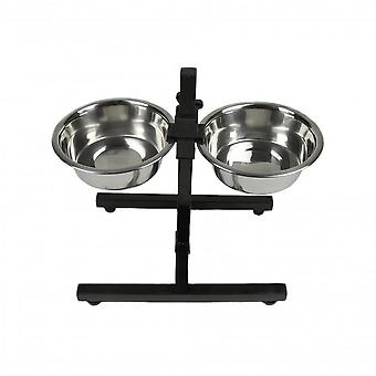 Classic Adjustable Diner Stand With Two Dog Bowls (3 Pieces)