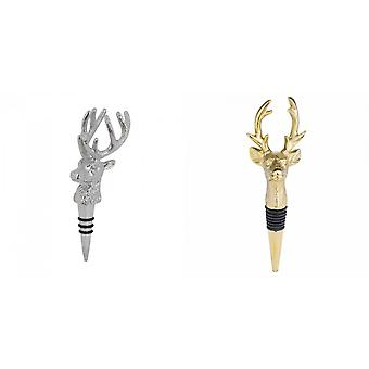 Hill Interiors Nickel Stag Head Bottle Stopper