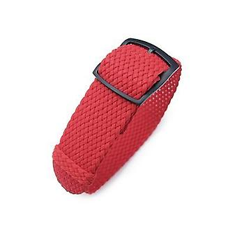 Strapcode fabric watch strap 20, 22, 24mm miltat perlon watch strap, red, pvd brushed black ladder lock slider buckle