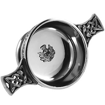 Scottish Thistle Badge Pewter Quaich - 2.5""