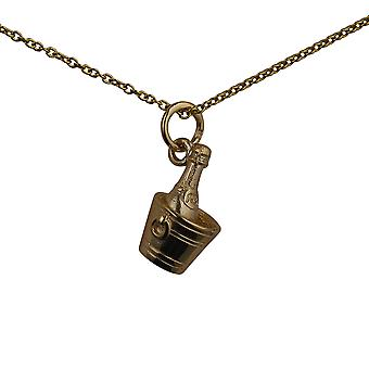 9ct Gold 15x9mm Champagne in a Ice Bucket Pendant with a cable Chain 20 inches