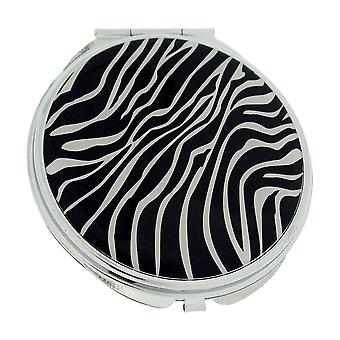 Compact Mirror FMG Silvertone Metal Zebra Designed Cover With True & Magnification Image SC1426