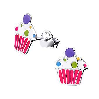 Children's Sterling Silver Cupcake Stud Earrings