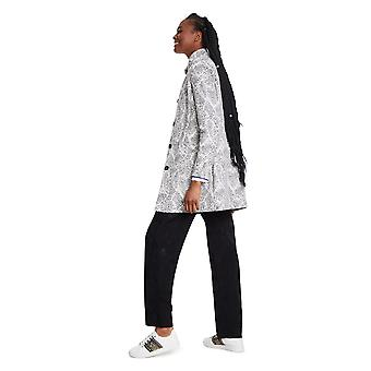 Desigual Women's White and Grey Manchester Semi Smart Coat 48