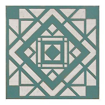 Grøn Aztec Metal og Træ væg decor
